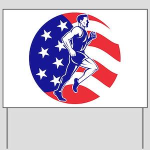 American Marathon runner Yard Sign