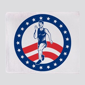 American Marathon runner Throw Blanket