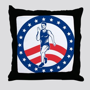 American Marathon runner Throw Pillow