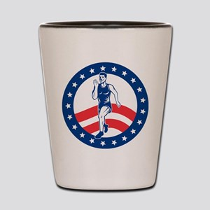 American Marathon runner Shot Glass