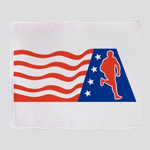 American Marathon runner Throw Blanket