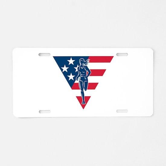 American Marathon runner Aluminum License Plate