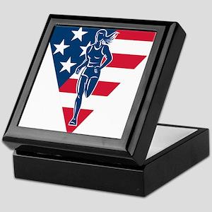 American Marathon runner Keepsake Box