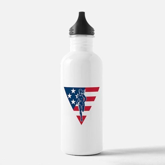 American Marathon runner Water Bottle