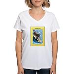 """Surfing Dog"" Women's V-Neck T-Shirt"