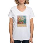 """""""Power of the Flower""""(TM) Women's V-Neck T-Shirt"""