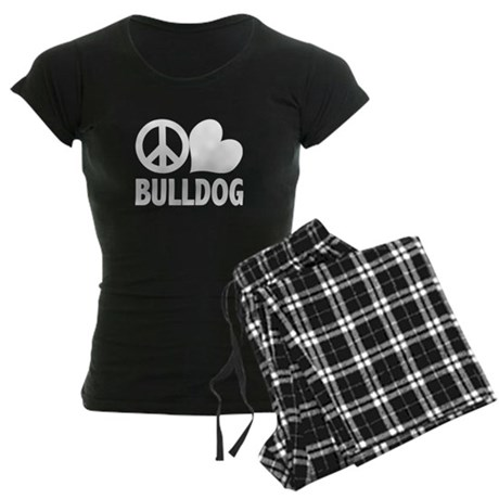 Peace Love Bulldog Women's Dark Pajamas