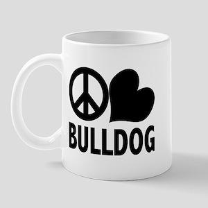 Peace Love Bulldog Mug