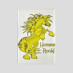 Horses Rock Yellow Rectangle Magnet