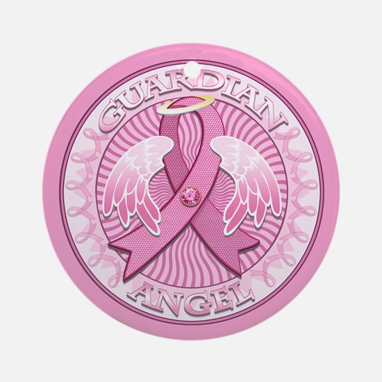 Pink Guardian Angel Ornament (Round)