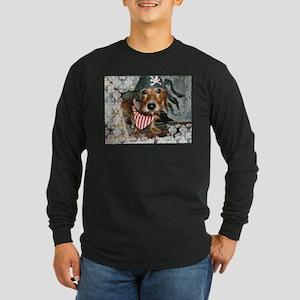 Puppy in Pirate Costume Long Sleeve Dark T-Shirt