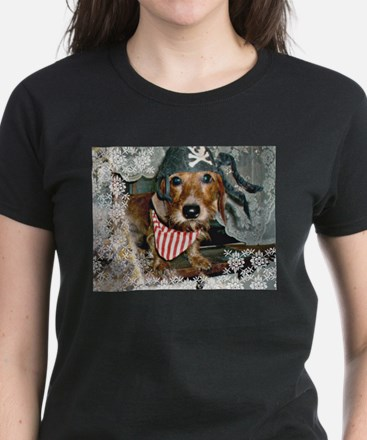 Puppy in Pirate Costume Women's Dark T-Shirt