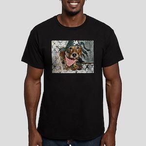 Puppy in Pirate Costume Men's Fitted T-Shirt (dark