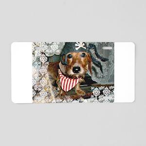 Puppy in Pirate Costume Aluminum License Plate