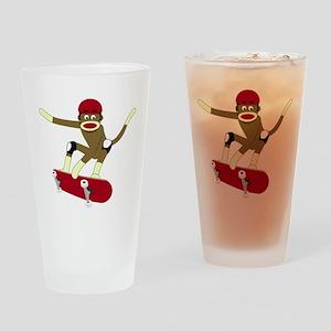 Sock Monkey Skateboarder Drinking Glass
