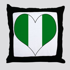 Nigeria Heart Throw Pillow
