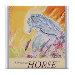 """I Dream in Horse"" Tile Coaster"