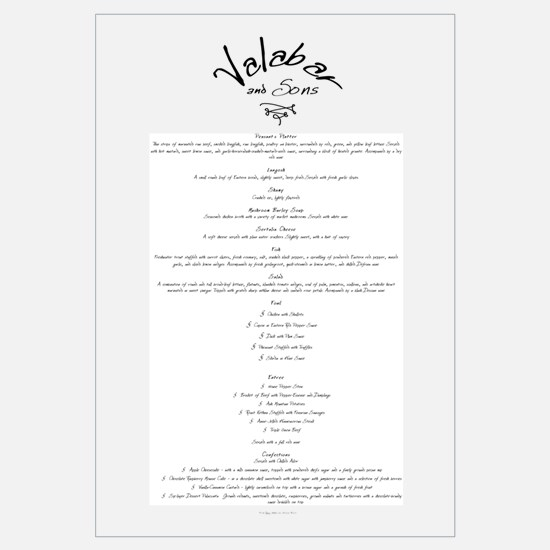 Valabar & Sons Menu