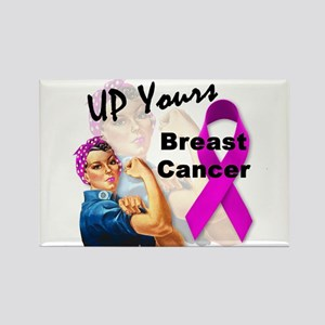 Up Yours Breast Cancer Rectangle Magnet
