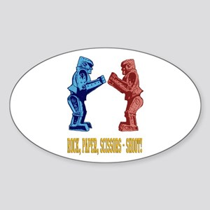 Rock'em Sock'em Paper Scissor Sticker (Oval)