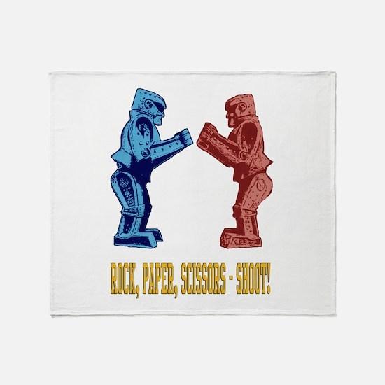 Rock'em Sock'em Paper Scissor Throw Blanket