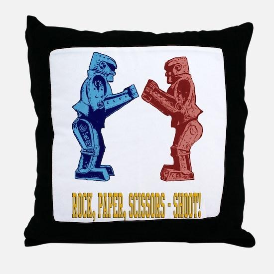 Rock'em Sock'em Paper Scissor Throw Pillow