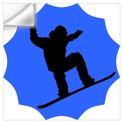 Blue Snowboarder Wall Decal