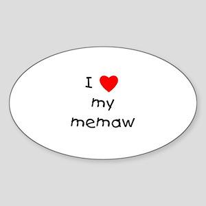 I love my memaw Oval Sticker