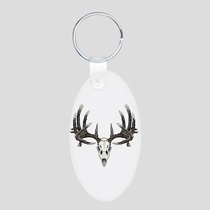 Big whitetail buck Aluminum Oval Keychain