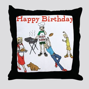 Barbecue Birthday. Red. Throw Pillow