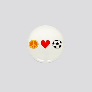 Peace Love Soccer Mini Button