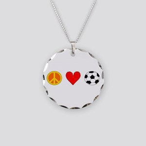 Peace Love Soccer Necklace Circle Charm