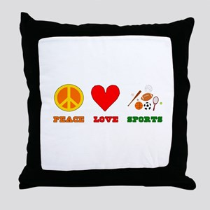 Peace Love Sports Throw Pillow