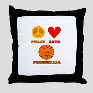 Peace Love Streetball Throw Pillow