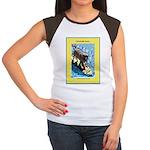 """""""Surfing Dog"""" Women's Cap Sleeve T-Shirt"""