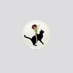 Skeleton on Cat Mini Button