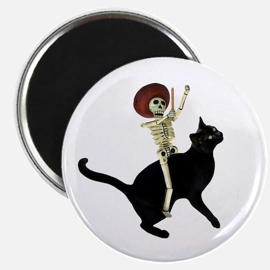 Skeleton on Cat Magnet