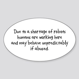 Robot Shortage Oval Sticker