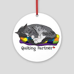 Quilting Partner Ornament (Round)