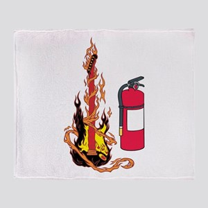 Flaming Guitar and Extinguisher Throw Blanket