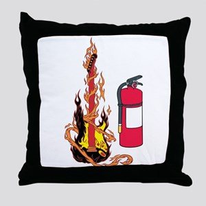 Flaming Guitar and Extinguisher Throw Pillow