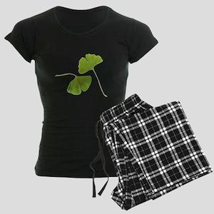 Ginkgo Biloba Leaves Women's Dark Pajamas