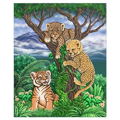 Jungle Kittens Small 16x20 Framed Print