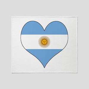 Argentina Heart Throw Blanket