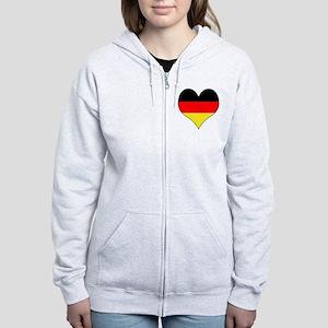Germany Heart Women's Zip Hoodie