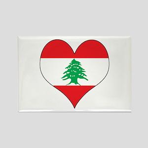 Lebanon Heart Rectangle Magnet
