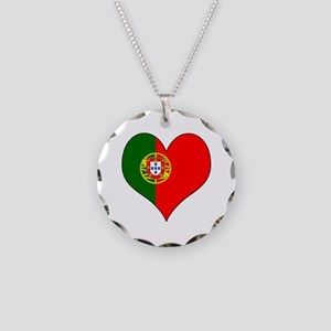 Portugal Heart Necklace Circle Charm