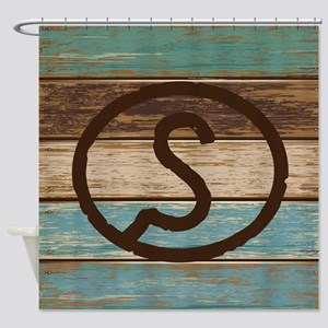 Branding Iron Letter S Wood Shower Curtain