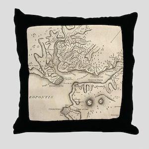 Vintage Map of Istanbul Turkey (1784) Throw Pillow