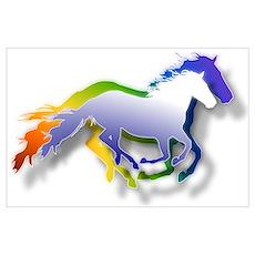 3D Running Horses Poster